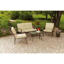 Walmart Patio Conversation Sets Mainstays Stanton Cushioned 4 Piece Patio Conversation Set Tan