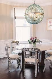 Choros Chandelier Blue Cottage Dining Room With Blue Greek Key Floor Trim Cottage