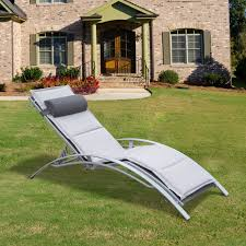 Outdoor Reclining Chaise Lounge Outsunny Patio Reclining Chaise Lounge Chair With Cushion Gray
