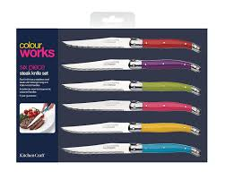 kitchen craft knives colourworks steak knife set multi colour 6 co uk