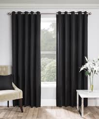 Thick Black Curtains Pair Of Black Warwick Thick Thermal Weave Fully Lined Curtains