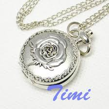 ladies pocket watch necklace images Wholesale silver rose women ladies girl necklace pocket watch new jpg