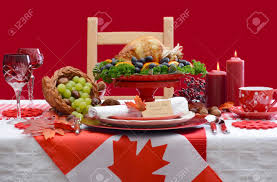Thanksgiving Flags Red And White Canadian Theme Thanksgiving Table Setting With