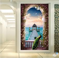 3d wall murals idecoroom 3d balcony peacock window pier sea corridor entrance wall mural decals art print wallpaper 037