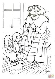 grandmother is telling legend about snow queen coloring page
