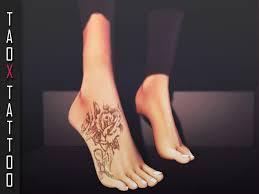 second life marketplace taox tattoo appliers feet rose cross