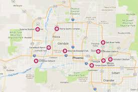 Map Of Mlb Teams Spring Training Cactus League Stadiums In Arizona
