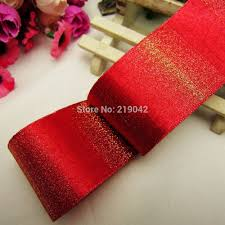 md921110 free shipping 38mm red gold christmas ribbon wedding