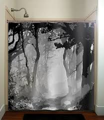 White Shower Curtains Fabric Gray And Black Shower Curtain Peva Raya Shower Curtain In Black