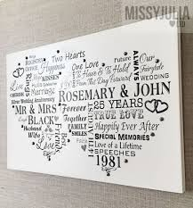 25 wedding anniversary gift wedding anniversary gift 25 years personalised plaque sign w260