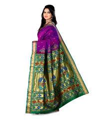 Buy Violet Embroidered Art Silk Ishin Purple Art Silk Paithani Saree Buy Ishin Purple Art Silk