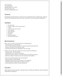 Typing Resume Professional Foh Manager Templates To Showcase Your Talent