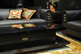Versace Sofa Contemporary Sofa Leather 2 Seater Black Versace Ceramics