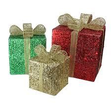 set of 3 lighted glistening prismatic gift box yard