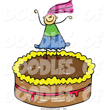 vector clipart of a childs sketch of a on a chocolate cake by