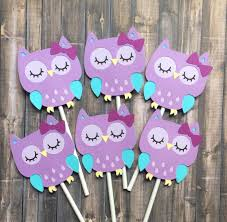 12 owl cupcake toppers birthday decorations purple blue owl
