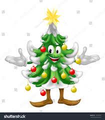decorated cartoon christmas tree man baubles stock vector