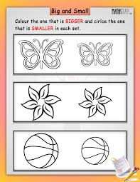 kindergarten activities big and small lkg math worksheets