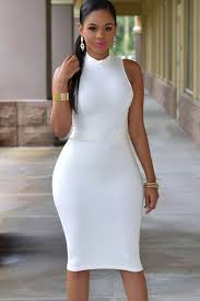 white sleeveless mock neck cut out bodycon dress party dresses