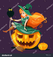 owl halloween background cute redhead witch sitting on halloween stock vector 219033271