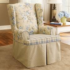 upholstered arm chair with shabby chic wingback slipcover and