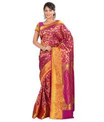 rani pink colour varkala nandani silk full brocade zari saree colour rani