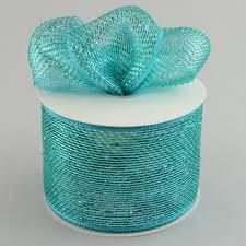 deco mesh ribbon 4 poly deco mesh ribbon metallic teal rs200560 craftoutlet