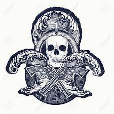 pirate crossed guns skull sea waves symbol sea