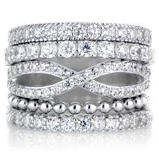 brenna u0027s set 5 stackable rings silvertone