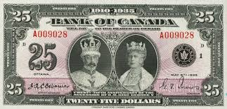 twenty five dollars value of may 6th 1935 25 bill from the bank of canada canadian