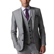 mens light gray 3 piece suit 2018 custom design slim fit light gray two buttons notch lapel groom