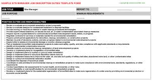 Project Manager Job Description For Resume by Site Manager Job Description