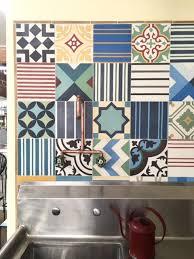 Cement Tile Backsplash by A Cement Tile Backsplash At Potted Store In Los Angeles