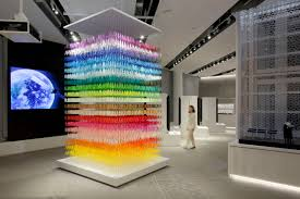 giant paper sculptures that use color to divide and establish