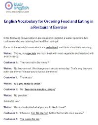 restaurant u0026 food english vocabulary class worksheets lesson plans
