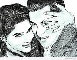 pencil sketch of asin and salman khan desipainters com
