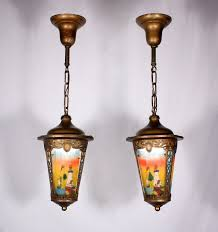 Pewter Ceiling Lights Two Matching Antique Brass Pewter Pendant Lights With Original