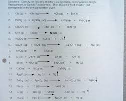 identifying reaction types and balancing chemical equations