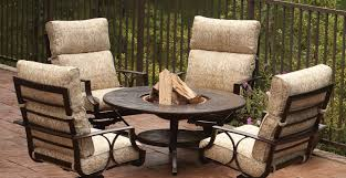Patio Sets With Fire Pit by Wood Burning Fire Pit Outdoor Dining Table Made Of Cast Aluminum