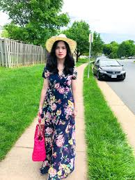 floral maxi dress straw hat one awesome momma