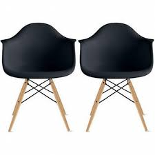 homelala set of two 2 black eames replica armchair natural