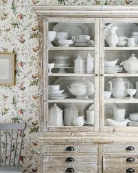 spring inspired floral wallpaper for shabby chic kitchen