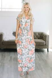 coral blue floral maxi dress best modest online boutique cute