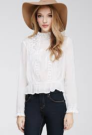 forever 21 white blouse be different in style with high neck blouse womens shirt