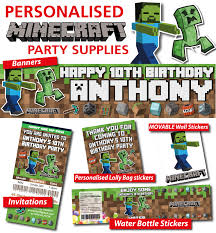minecraft party invites personalised minecraft birthday party banner decorations