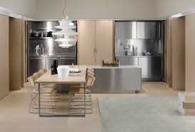 modern italian style kitchen design collection from arclinea whoovie open floor kitchen and dining room with wooden stainless steel cabinets island long table white pendant light from arclinea