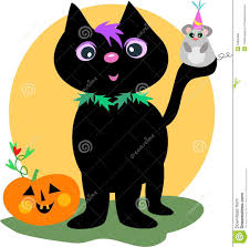 happy halloween black cat and mouse stock photography image