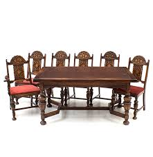 bernhardt furniture jacobean style oak dining table and chairs ebth