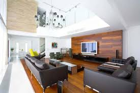 natural wooden nuance inside the modern natural living room design