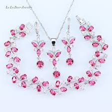 pendant l with chain l b lady 925 silver jewelry sets pink crystal white zircon bracelet